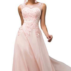 Blush Pink Full Length Prom Dress